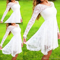 Wholesale 2015 Lace Pearls Enchanted with Elegance Graduation Dresses Long Sleeves Sheer Ruffles Cocktail Gowns Cheap Party Dress BO8619