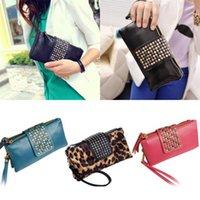 Wholesale Women Rivet Zipper Wallet Holder Card Coin Clutch Purse Wristlet Evening Bag T2S