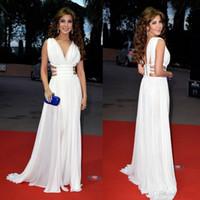 Acheter Robes de soirée nancy ajram,White Chiffon Nancy Ajram Robes de  soirée arabe V