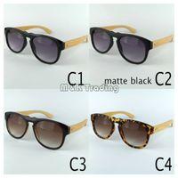 UV400 big beach sunglasses - New Wood Sunglasses Black Vintage Sun Glasses For Women And Men Big Plastic Frame Bamboo Temples