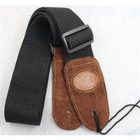 acoustic guitar strap leather - 2PC Black Adjustable Leather ends Guitar Strap For Electric Acoustic Guitar Bass