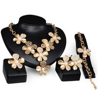 Wholesale Charms Ethiopian Jewelry Sets k Gold plated Crystal Pearl Flower Women Jewelry Necklace Earrings Ring and Bracelet bijoux