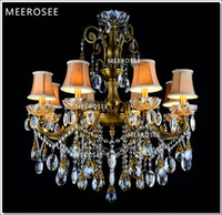 Wholesale Bronze Finished Antique Crystal Chandelier Lingting Luxurious Brass Crystal Lamp Lustre Suspension Light MD8504 L8 D750mm H750mm