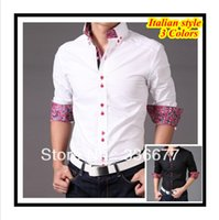 shirts for men italian - Italian designer button down Collar Slim fit Long Sleeve Prints shirt for men Hombres de camisa