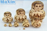 basswood craft - New Matryoshka Doll Wooden Russian Nesting Dolls Dried basswood Pyrography style crafts toy gift order lt no track
