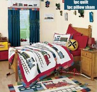 Wholesale Hand made Mediterranean train children s gift bedding red color cotton Twin Full Queen size quilt comforter pc with pillow sham