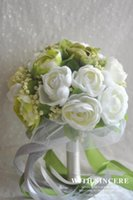 Wholesale 2016 New Arrival Bridal Wedding Bouquet Decoration Artificial In Stock Cheap Bridesmaid Flowers White Rose with Ribbon