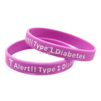 Cheap 1PC Type 1 Diabetes Insulin Dependent Medical Alert Silicone Wristbands, Carry This Message As A Reminder in Daily Lif By Wear This