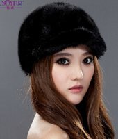 Wholesale Topshop Fashion European Russain Style Winter Luxury Genuine Mink Fur Outdoor baseball hat and caps