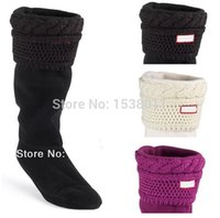 Wholesale Clear Rain Boots For Women - Wholesale-2015 NEW women wool Knitted Cotton Rain Boots Socks Chunky Cable Welly Socks M L size for tall rain shoes SHT4118