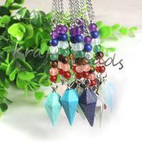 aventurine necklace - amethyst Rose Quartz Lapis lazuli Green Aventurine OPAL Hexagonal pyramid Stone Healing Chakra Pendulum Gift