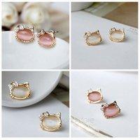 Wholesale Fashion Ear Stud Jewelry Sweet Bowknot Cat Kitten Kitty Rhinestone Earrings Women Girls Gift Jewelry MHM272