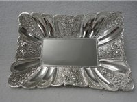 animal shapes tray - Rectangular shape silver golden plated fruit tray with nice patterns zinc alloy plate