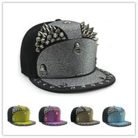 armor cap - Unique women men punk Style Armor Rivet Hats Hip Hop Baseball Cap Flat eaves Hats Ball caps Outdoor street cap
