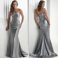 Wholesale In Stock Cheap Mermaid Prom Dress Long Strapless Beaded Silver Stretch Satin Formal Bridesmaid Dresses Party Gown