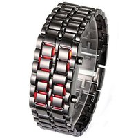 led lava watch - 2014 Hot Sale Black Silver Lava Metal LED Display Watch Iron Samurai Stainless Steel Watch For Men Women Sports Digital Watches