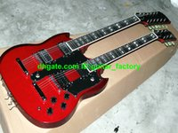 Cheap Free shipping 1275 Double Neck Electric Guitar IN Red Custom Shop 6 Strings 12 Strings