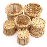 Wholesale 1Pcs Pastoral Style Small Desktop Pen Holders Storage Container Basket Willow Wooden Handmade Crafts Sizes