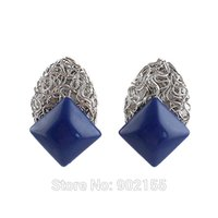 Wholesale Sapphire Jewelry Blue Imitation Gemstone Geometric Hollow Out Silver Color Alloy Stud Earrings For Women