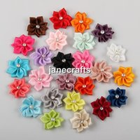 Wholesale Handmade Satin Ribbon Flowers Petals Bows Appliques Craft DIY Beads Wedding Accessory Assorted in Colors