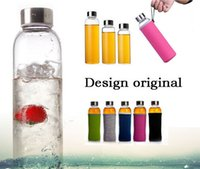 glass water bottles - Xmas Gift Colors Korean Stylish Fruit Glass Water Bottle Health Sports Bottle with Cover