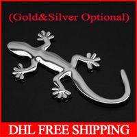 Wholesale 10000pcs D Metal Wall Gecko House Lizard Car Motor Decal Sticker Stick PE bag packing