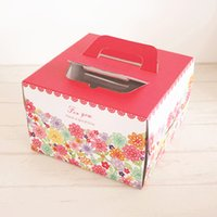 Wholesale Piece Inch Red Flower Cake Box With bottom