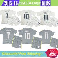 kids jerseys - 2016 Kids James Jersey gray Camisetas infantis Ronaldo kroos Isco Spain Madrid Soccer Jersey Children football Kits