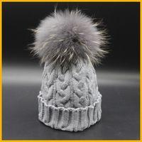 Wholesale New Fashion Grey Beanie Hat With Fur Pom pom Winter Deyed Raccoon Fur Hats For Women Skullies Caps