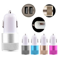 Car Chargers For Blackberry Car Charger Universal Car Charger Metal Alumium Alloy Dual USB Port Car Charger 2.1A+1A For iPhone 4s 5 5s 6s Plus iPad mini Galaxy S5 S6 HTC LG 100pcs