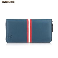 Wholesale BANUCE Bule Genuine Leather Zipper Men Wallets High Quality Men s Long Clutch Wallet Casual Coin Purses Men