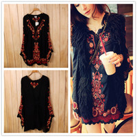 gypsy dresses - 2015 New brand ethnic Women s Long Sleeve Embroidered Floral Boho Top Tunic Mexican Gypsy Mini dress