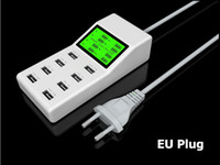Cheap Universal 8 USB Port Display Screen US EU UK Plug Travel AC Power Adapter Socket Smart Wall Charger For Cell Phone Tablet Camera