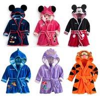 Wholesale Children s Towels Robes Baby Boy Girl Cartoon Coral Fleece Homewear Pajamas Hooded Winter Night Robes Bathrobe for Spring Autumn Winter