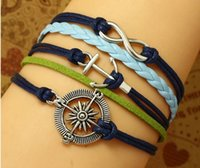 antique nautical compass - Charm Infinity Wish Bracelet Compass Bracelet Anchor Nautical Bracelet Antique silver