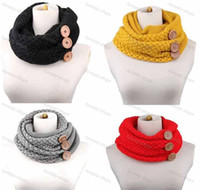 Wholesale New women neckerchief knitted button Infinity scarf neck gaiter winter knitting scarf wrap fashion knit warm ring scarf Christmas gift