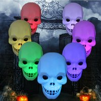 automatic night light switch - Skull LED light color automatic switching Halloween pumpkim scary novelty night light bedroom luminous lamp festival best gift