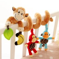 Wholesale Monkey Family Design Newborn Infant Baby months years Spiral Bed Stroller Plush Toy Pram Crib Ornament Hangings rattle