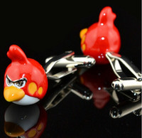 Wholesale Cuff Link Bird - Novelty Animal Red Bird Cufflinks For Shirt French Cufflink Fathers Day Gifts For Men Jewelry Cuff Links Free Shipping C110