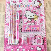 Wholesale 7 in1 Cute Kawaii notepad pencil Eraser Ruler Ball point pen stationery set Students pen School Supplies Cartoon Kid Gifts