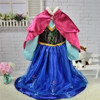 Wholesale Kids dress Movie Cosplay Costume Princess Anna coronation Dress for Children Halloween Dresses for Kids clothing with Double Red Cloak D