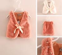 Wholesale Girls Cute Waistcoat Fur Vest Warm Sleeveless Children Outwear Winter Kids Clothing beades bow Girl Waistcoat