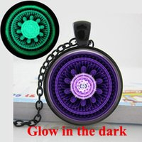 abstract circle art - GL Glow in the dark jewelry Abstract Mandala Necklace Spiritual Healing Yoga Jewelry Art Glass Cabochon Glowing Pendant Necklaces