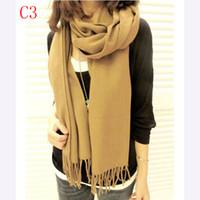 designer wool scarves - Fashion Winter Long Scarves Acrylic Knitted Pashminas Wool Imitated Cashmere Scarf Designer Tartan Checks Tippet Warm Blanket Shawl F003