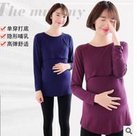 Wholesale lactation clothes Pure cotton pregnant women render unlined upper garment of large yards T shirt warm breast coat confined pajamas29