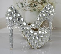 Cheap Silver Rhinestone Prom Party Shoes Women High-heeled Wedding Shoes The Bride Signle Shoes Pumps Size 34-43 Bridesmaids Shoes