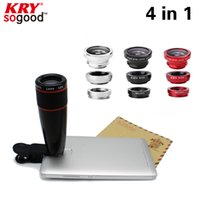 Wholesale in1 x black Zoom Telescopic Optical Lens amp Macro amp Wide angle Lens amp Fish Eye Lens with clip for iphone samsung HTC