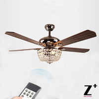 Wholesale American Country Style Wood fan Led lights fan Lustre Crystal Chandelier with Remote Control