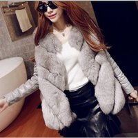 Cheap Wholesale-Elegant Casual 2015 New Style Leather Splice Women Luxury Long Fox Fur Coat Outwear Female Plus Size Caidigan Fur Overcoat V601