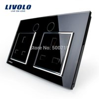 Wholesale Livolo UK Standard Wall Power Socket VL C7C2UK Black Crystal Glass Panel Manufacturer of A Wall Outlet